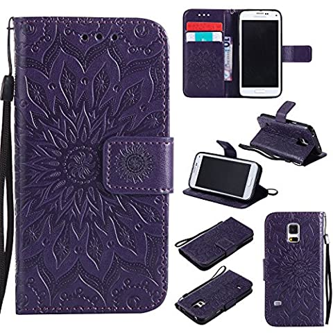 Samsung Galaxy S5Mini G800 SM-G800 Case Leather, Ecoway Sun flower embossed pattern PU Leather Stand Function Protective Cases Covers with Card Slot Holder Wallet Book Design Detachable Hand Strap for Samsung Galaxy S5Mini G800 SM-G800 -