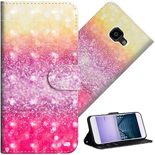 COTDINFOR Galaxy Xcover 4 Hülle für Geschenk Lederhülle 3D-Effekt Kartenfächer Schutzhülle Protective Handy Tasche Schale Standfunktion Etui für Samsung Xcover 4 Gradient Colorful YX.