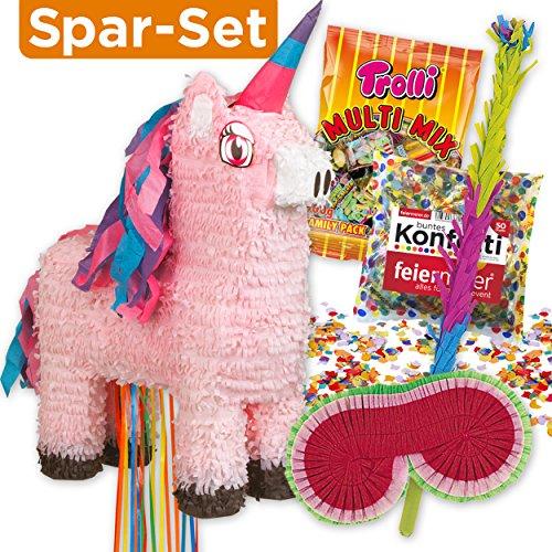 Preisvergleich Produktbild PIÑATA-SET: Rosa Einhorn Zieh-Piñata + Schläger + Maske + Süßigkeiten-Füllung + Konfetti