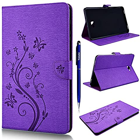 Galaxy Tab A 10.1 (SM-T580 / SM-T585) Yokata PU Leather Case With Flip Stand Cover, Embossed Flowers Vine Butterfly Stylish Design Wallet Case Card Cash Slot With Soft TPU Inner Case Protective Skin Samsung Galaxy Tab A 10.1 T580 / T585 + 1 X Capacitive Pen - Purple