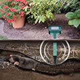 FGHGFCFFGH Solar Eco-Friendly Outdoor Garden Yard Lawn Insect Trap Ultrasonic Mole Snake Pest Reject Mouse Electronic Repeller EU Plug