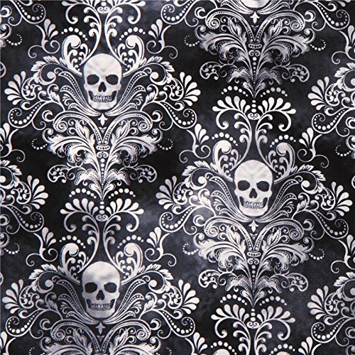 Schwarz-grauer Totenkopf Ornament Stoff \'Wicked\' Timeless Treasures USA