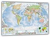 J.Bauer Karten Politische Weltkarte, 140x100 cm, deutsch, beschichtet mit nicht-spiegelnder Folie, Stand 2018
