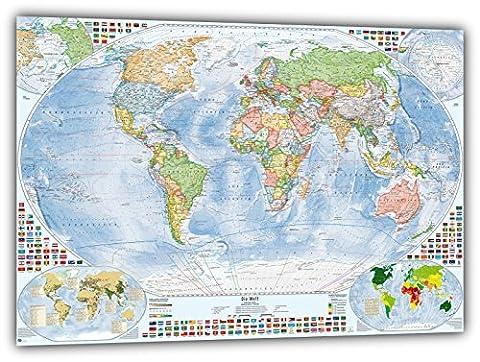 Politische Weltkarte mit 4 Nebenkarten, 140x100 cm, deutsch, Aktuell: Stand 2015