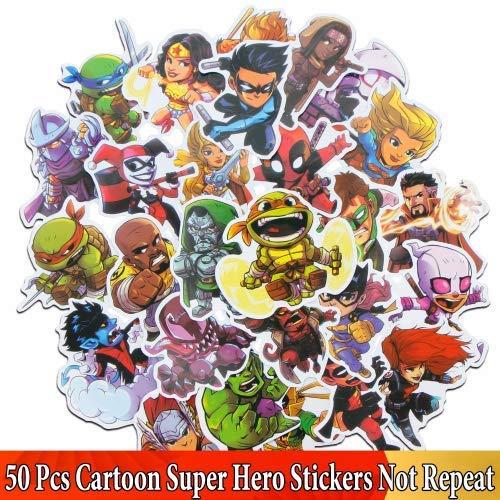 HZHUI Adesivo per Supereroi Cartoon Avengers per Star Wars Applique Laptop Skateboard Luggage Sticker 50pcs
