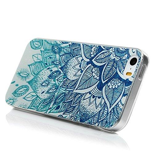 iPhone 5/iPhone 5S/iPhone SE Smartphone Coque de Protection- YOKIRIN® Phone Case de TPU Souple Ultra Illustration en Couleur- Fleur Rétro Style 8