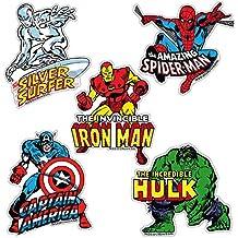 Juego de imanes de nevera Marvel Comics - Juego de 5 imanes de refrigerador Super Heroes - Hombre de Hierro, Hulk, Spider-Man, Capitán América y Silver Surfer - Diseño original con licencia - LOGOSHIRT