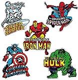 Set di magneti frigo Marvel Comics - Set di 5 magneti frigorifero - Iron Man, Hulk, Uomo Ragno, Capitan America e Surfer - design originale concesso su licenza - LOGOSHIRT