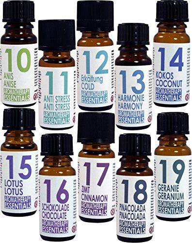 Set von 10 (zehn) Duftöle . Aromatherapy Essentials . Made in Germany. Anis, Anti Stress, Erkältung, Harmonie, Kokos, lotus, Schokolade, Zimt, Pinacolada, Geranie