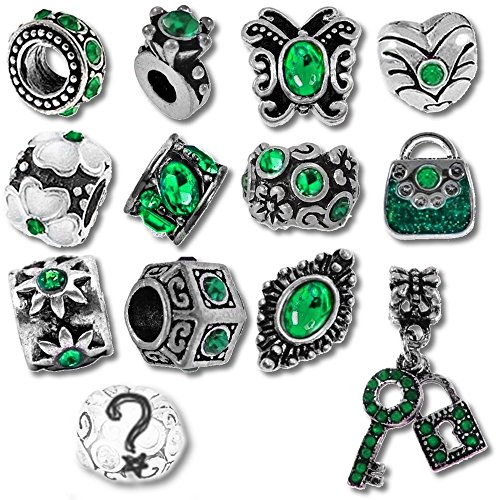 Timeline trinketts braccialetto ciondolo rhinestone encanto perline pandora gioielli–verde smeraldo