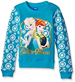 Disney Little Girls' Frozen Anna ELSA Sisters Forever Crew Neck Sweatshirt, Turquoise, 6X