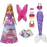 Barbie Dreamtopia poupée Papillons coffret 3-en-1 blonde avec trois tenues roses de princesse, sirène et fée, jouet pour enfa