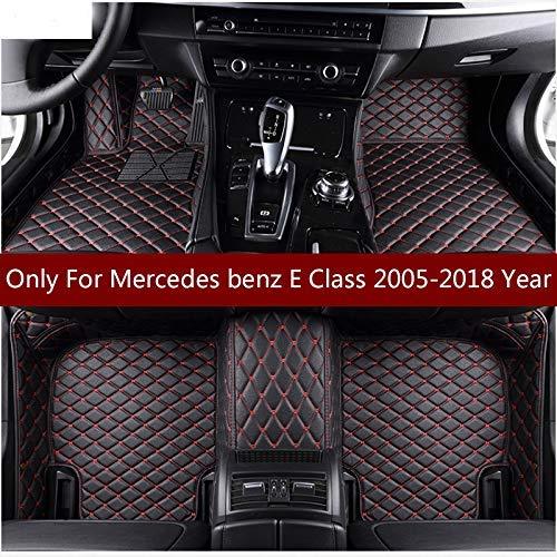 SIZHINIAN Flash-Matte Leder Auto-Fußmatten für Mercedes Benz E-Klasse W211 2005-2016 2017 2018 Auto Fuß Pad Automobil Teppich Abdeckung, Schwarze und rote Linie (Bereich Teppich-pad über Den Teppich)