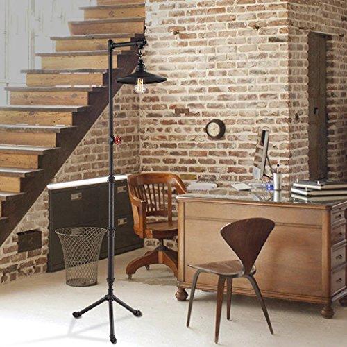 Lampe de plancher Loft Nordic fer rétro industrielle salon américain étude personnalité créative tuyau lampadaire A+