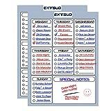 Extsud 2 Pezzi Lavagnetta Magnetica da Frigo Cucina Menù Settimanale Memo Calendario Tabella Cancellabile per Impegni Promemoria Note Lista di Spesa 3 Penne Incluse 40x30cm