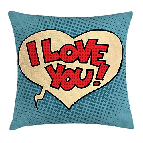 (I Love You Throw Pillow Cushion Cover, Pop Style Comic Strip Valentine's Bubble Artistic Cartoon Graphic, Decorative Square Accent Pillow Case, 18 X 18 Inches, Petrol Blue Red Ivory)