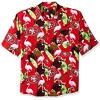 f923bd382 Forever Collectibles San Francisco 49ers NFL Floral Print Button Up Shirt