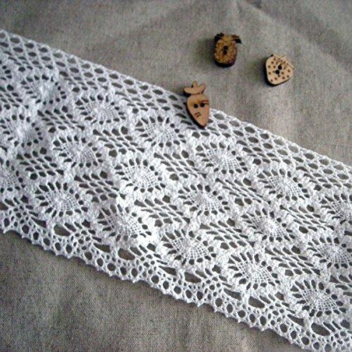 0,9m cotone Torchon Knit Lace crochet Trim 8cm YH040 Infradito colorati estivi, con finte perline