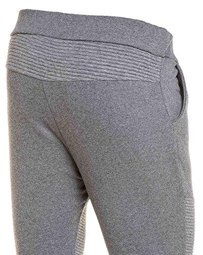 BLZ jeans - Pantalon jogging stylé gris uni à nervures et zips Gris
