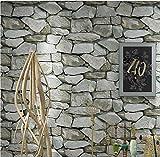 H&M Fond d'écran PVC rétro 3D stéréo imitation pierre texture papier peint décoration chambre TV mur salon fond d'écran -53 cm (W) * 10 m (L), Green gray