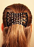 Mebella Women Magic Beads Hair Clips Stretchy EZ double comb Different hair styles - Black