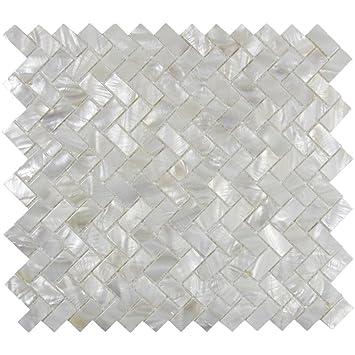echte mutter von pearl oyster herringbone shell mosaik fliese fr kche backsplashes das badezimmer spas pools von vogue tile amazonde kche - Schwarzweimosaikfliese Backsplash
