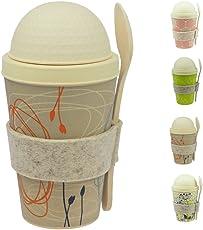 ebos Müsli-to-Go Becher aus Bambus   Müslibecher, Müslischale, Joghurtbecher, Reisebecher   ökologisch abbaubar, recyclebar, Umweltfreundlich   lebensmittelecht, spülmaschinengeeignet