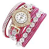 Lucky mall Damenmode Armbanduhr, Analog Quarz Damen Strass Uhr