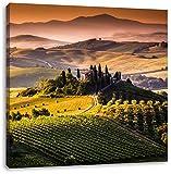 Wunderschöne Toskana Landschaft, Format: 40x40 auf Leinwand, XXL riesige Bilder fertig gerahmt mit Keilrahmen, Kunstdruck auf Wandbild mit Rahmen, günstiger als Gemälde oder Ölbild, kein Poster oder Plakat