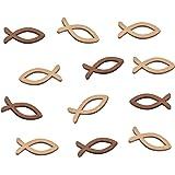 FEPITO 100 houten vissen deco vissen strooidecoratie tafeldecoratie versiering voor doop, communie en vormsel - klein 3,5 cm