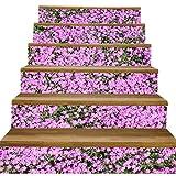 Benfa 3D Autocollants Escalier Petit Escalier Floral Verticale Décoration Photo Murale Vinyle Autocollants Murales 100 * 18CM (6Pieces),6(Pieces)