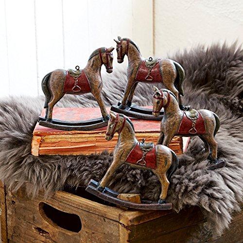 Loberon Deko-Pferde 4er Set Cory, Polyresin, H/B/T ca. 11/12 / 3,5 cm, braun