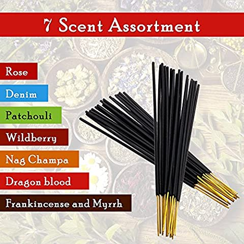 7-assorted-scents-frankincense-and-myrrh-patchouli-denim-rose Dragon-blood-nag-champa-wildberry 100% -natural-incense-sticks Handmade-hand-dipped The-best-140-pack-20-sticks-each-fragrance
