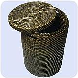 Simandra Wäschekorb Wäschebox mit Deckel aus 100% Ata, Rattan Palme, Dekorative Unikate Aufbewahrungskorb Handarbeit Natur Rund Größe Groß