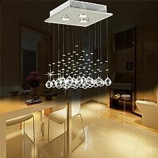 Glighone Kristall LED Deckenleuchte Kronleuchter Modern Pendelleuchte  Anhänger Kristallkronleuchter Kristallkugel Mit 3 Leuchten Für Küche,