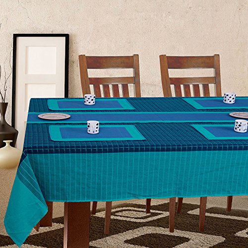 Dhrohar Hand Woven Cotton Dobby Table Cover, Runner and 6 Mat Set...