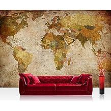 Fotomural, 300x 210cm Premium Plus fotográfico pintado–cuadro de pared–Vintage Atlas–Mapa del Mundo Antiguo Atlas tarjeta atlanten tarjeta Antigua tarjeta edad Atlas–No. 029
