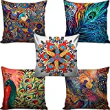 Kridhya Natura Life Decorative Hand Made Cotton Cushion Covers - Set of 5 (Multicolour, 40 x 40 cm)