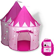 Babytintin Princess/Prince Kids Play Tent Indoor Outdoor - for Boys Girls Baby Toddler Playhouse House Castle Foldable Tents with Carry Case Castle Tent House (Pink)