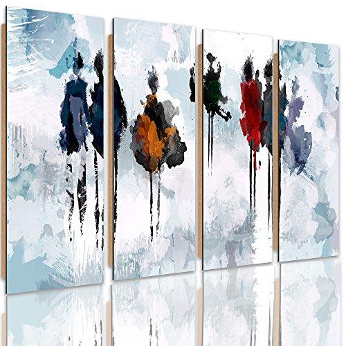 Feeby Frames, Tableau mural - 4 parties - Tableau Déco, Tableau imprimé, Tableau Deco Panel, Type C, 120x100 cm, ABSTRACTION, SILHOUETTES, AQUARELLE, BLANC, BLEU, MULTICOLORE