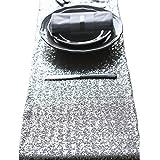 12x108 pollici tavolo da tavolo da tavolo da tavolo da tavolo da Tovaglia da corridoio da tavolo da tavolo per feste di compleanno sposi docce per neonati (Argento)