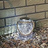Silber Solar Laterne, Glas Design, weißes LED, 16cm