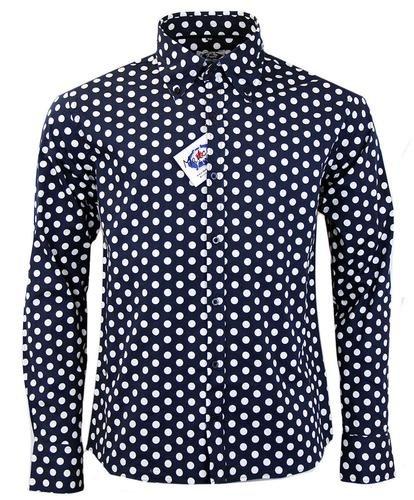 Madcap England Penny Dot Lane Retro 60s Mod Shirt Navy