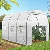 IDMarket - Serre de jardin tunnel 6m² blanche acier galvanisé