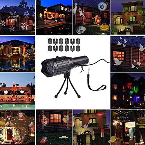 LED Christmas Lights Projektor, LED Tragbare Taschenlampe Mit 12 Muster Folien Und Stativ Mit Akku Für Party, Geburtstag, Weihnachten, Halloween