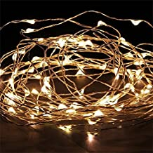 ILOVEDIY Guirlandes Lumineuses Cuivre Fil Led Pile - Guinguette Deco Noel Chambre Interieure Exterieur (5m 50-LEDs, Blanche chaude)