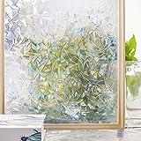 Homein Fensterfolie Selbsthaftend 3D Fenster Dekorfolie Sichtschutzfolie Folie für Sichtschutz Blickdicht Durchsichtig Glastür Selbstklebend Klebefolie mit Lichtspiel Motiv Glanzoptik Bunt Farbig Bruchglas 44.5 x 200 cm