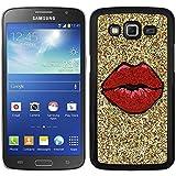Funda carcasa para Samsung Galaxy Grand 2 diseño labios rojos fondo efecto purpurina borde negro