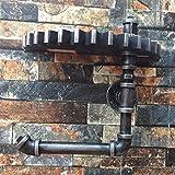 ANDE Retro industrielle Wind-Regal-Wasser-Rohre tun alte hölzerne Dekoration-Fertigkeiten Regal-Wand-hängende Rollen-Halter 27.5 * 23.5 * 13.5CM Originalität ( Farbe : #1 )