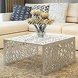 Festnight Table Basse en Aluminium avec Design géométrique ajouré Argent